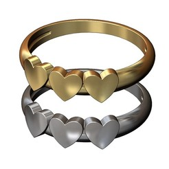 3-HEARTS-DOME-RING-00.JPG Download 3MF file Dome 3 hearts ring 3D print model • 3D printer object, RachidSW