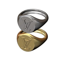 Round-S-LV-00.JPG Download 3MF file Round Louis Vuitton logo replica signet ring 3D print model • Design to 3D print, RachidSW