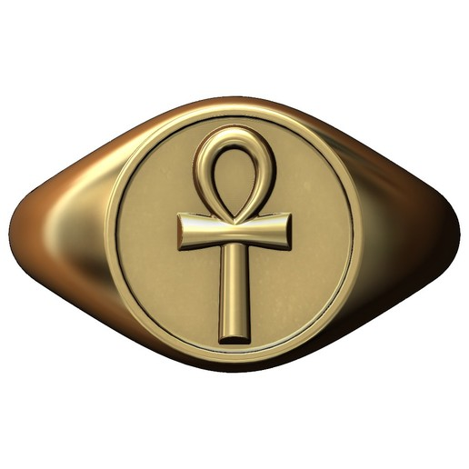 Ankh-signet-ring-03.JPG Download 3MF file ANKH eternal key of life round signet ring 3D print model • Template to 3D print, RachidSW