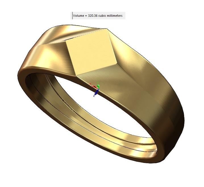 volume1.jpg Download 3MF file Simple quadrangle flat top signet ring 3D print model • 3D printable model, RachidSW