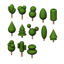 Download STL files Simplified miniature trees 3d print models, RachidSW