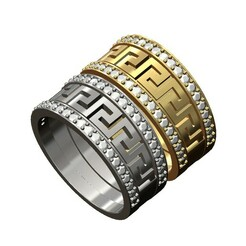 Diamond-Greek-key-wide-band-size8-00.JPG Download 3MF file 2 Diamond Versace greek key pattern bands 3D print model • 3D printing object, RachidSW