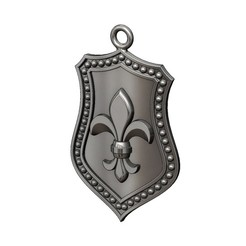lys-sh-1-00.JPG Download 3MF file Fluer de Lis Shield Pendant N01 3D print model • 3D printable object, RachidSW