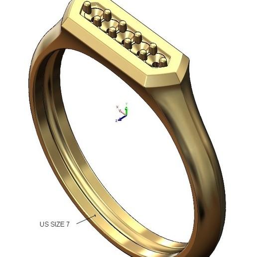 VOLUME2.jpg Download 3MF file Hexagonal slot low profile signet ring 3D print model • 3D printable model, RachidSW