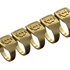 Bitcoin-signet-00.JPG Download 3MF file Bitcoin motif square signet ring 3D print model • 3D printable model, RachidSW