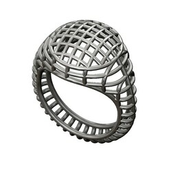 Wire-dome-signet-00.JPG Download 3MF file Wire mesh dome top signet ring 3D print model • Object to 3D print, RachidSW