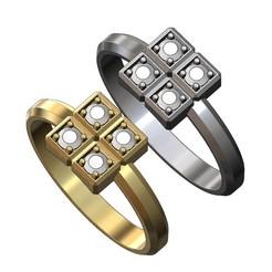 CUBE-RING-V1-00.JPG Télécharger fichier 3MF Modèle simpliste d'impression 3D d'une bague à 4 cubes de diamant • Plan pour impression 3D, RachidSW