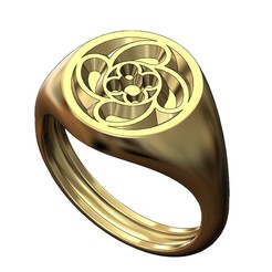 ROUND-S-Gothic8-00.JPG Download 3MF file Round signet ring with gothic ornament N08 3D print model • 3D printing design, RachidSW