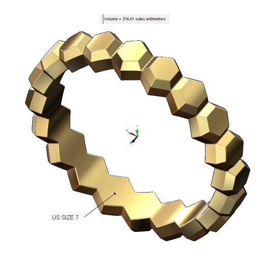 VOLUME1.jpg Download 3MF file Hexagonal Faceted norrow band 3D print model • Model to 3D print, RachidSW