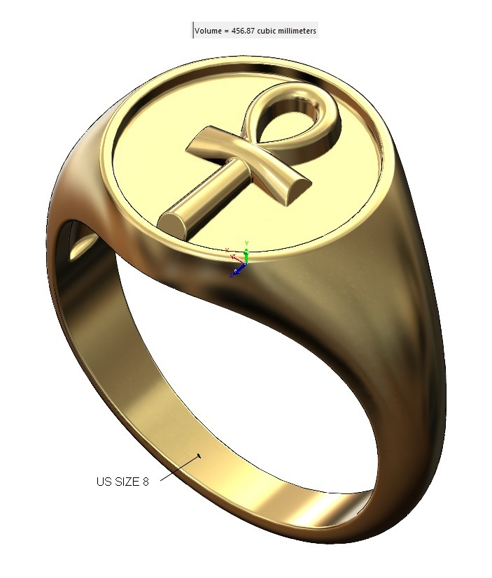 VOLUME2.jpg Download 3MF file ANKH eternal key of life round signet ring 3D print model • Template to 3D print, RachidSW