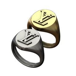 S-LV-00.JPG Download 3MF file Oval Louis Vuitton logo replica signet ring 3D print model • 3D printer template, RachidSW