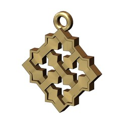 MOUCHA-MOTIF-PENDANT-00.JPG Download 3MF file Square Moucharabieh pendant and charm 3D print model • Template to 3D print, RachidSW