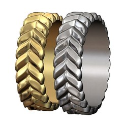 DOUBLE-ROW-CROISSANT-BRAID-RING-00.JPG Download 3MF file Whale tail pattern band 3D print model • 3D printer template, RachidSW