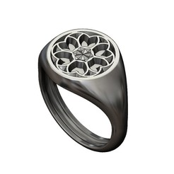 ROUND-S-Gothic3-00.JPG Download 3MF file Round signet ring with gothic ornament N03 3D print model • 3D printing model, RachidSW