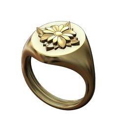 S-R5-00.JPG Download 3MF file Square Rosette on an Oval signet ring 3D print model • 3D printing template, RachidSW