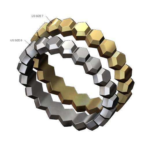 Hex-faceted-band-01.JPG Download 3MF file Hexagonal Faceted norrow band 3D print model • Model to 3D print, RachidSW