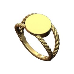 Rope-Round-ring-00.JPG Download 3MF file Round twisted wire signet ring 3D print model • 3D printing model, RachidSW
