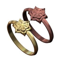 6 Leaf Cruciform Corola Rosette RING-000.JPG Télécharger fichier 3MF Modèle d'impression 3D de l'anneau de rosette de fleurs de corola à 6 feuilles • Objet à imprimer en 3D, RachidSW