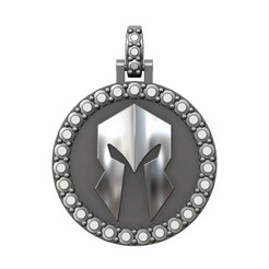 Spartan-diamond-pendant-Round25mm-00.JPG Download 3MF file Spartan helmet diamond pendant with bail 3D print model • Object to 3D print, RachidSW
