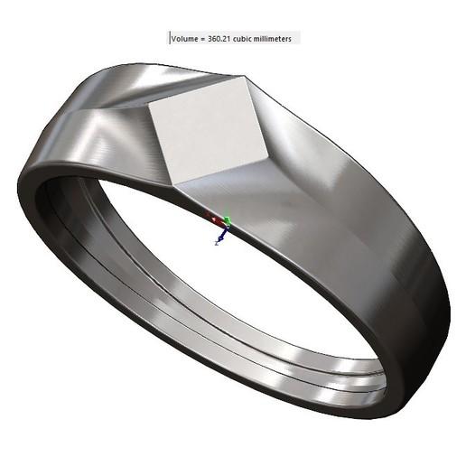volume2.jpg Download 3MF file Simple quadrangle flat top signet ring 3D print model • 3D printable model, RachidSW