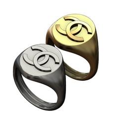 S-CH-00.JPG Download 3MF file Oval Chanel logo replica signet ring 3D print model • 3D printer model, RachidSW