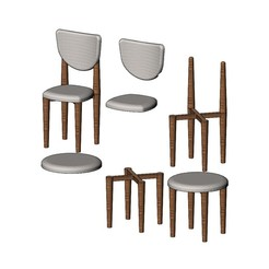CH9-00.JPG Download 3MF file Miniature side chairs and stool mockups 3D print model • 3D printer object, RachidSW