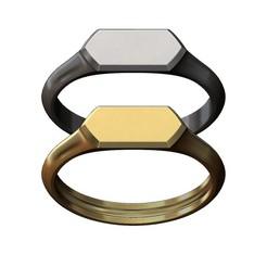 HEXA-signet-ring-01.JPG Download 3MF file Hexagonal low profile signet ring 3D print model • 3D printer model, RachidSW