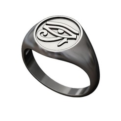 SIGNET-EYE-HORUS-size8-9-10-11-00.JPG Download 3MF file Eye of Horus motif signet ring 3D print model • Object to 3D print, RachidSW
