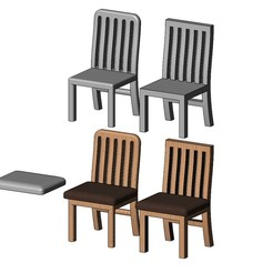 CH1-07.JPG Download 3MF file Miniature kitchen chairs mockups for dioramas 3D print model • Model to 3D print, RachidSW