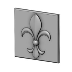 lys4-00.JPG Download 3MF file Royal lily Lys flower Fleur de lys plaster and wood tile  • 3D printer object, RachidSW