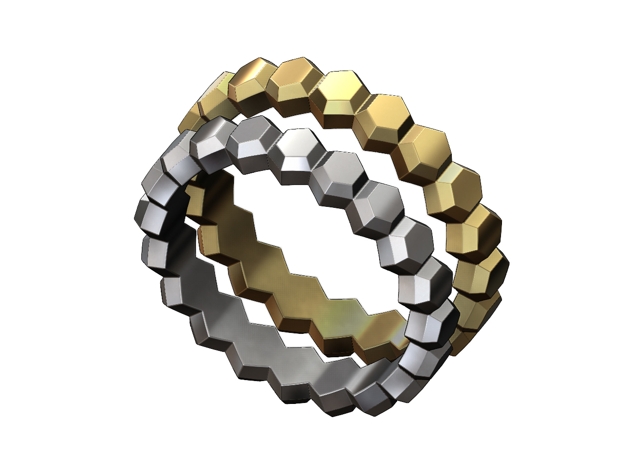 Hex-faceted-band-00.JPG Download 3MF file Hexagonal Faceted norrow band 3D print model • Model to 3D print, RachidSW
