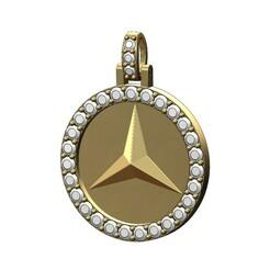 MERS-BENZ-Diamond-Pendant-Round25mm-00.JPG Télécharger fichier 3MF Diamant Logo Mercedes Benz Pendentif Modèle d'impression 3D • Plan imprimable en 3D, RachidSW
