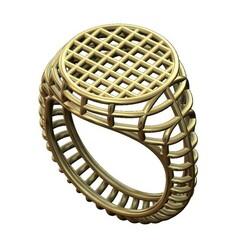 Wire-signet-00.JPG Download 3MF file Wire mesh round flat top signet ring 3D print model • 3D print design, RachidSW
