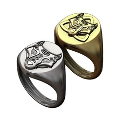 S-WOLF-000.JPG Download 3MF file Oval viking wolf signet ring 3D print model • 3D printer model, RachidSW