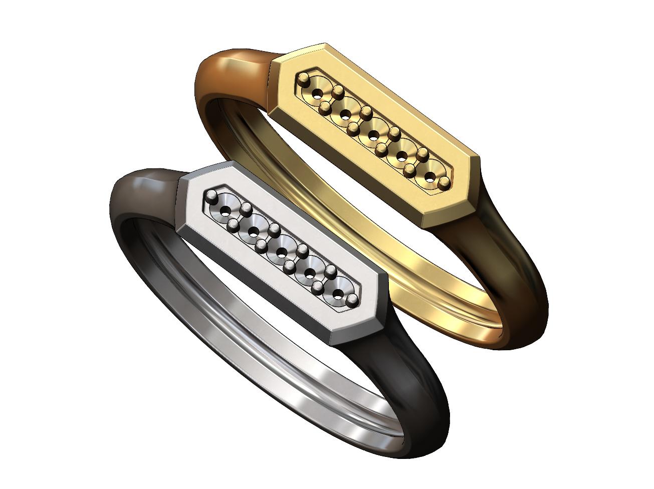 Hexa-signet-pavé-09.JPG Download 3MF file Hexagonal slot low profile signet ring 3D print model • 3D printable model, RachidSW