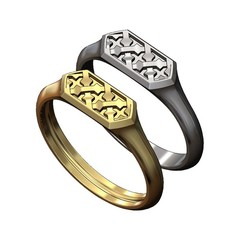 HEXA-moucha-signet-ring-00.JPG Download 3MF file Hexagonal Moucharabih motif signet ring 3D print model • 3D printer object, RachidSW