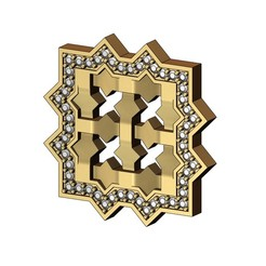 MOUCHA-PENDANT-12mmstones-00000.JPG Download 3MF file Square Moucharabieh pendant with a diamond halo 3D print model • 3D printer model, RachidSW