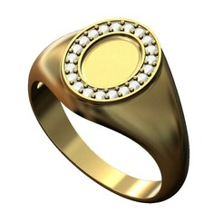 Diamond-petit-oval-signet-size8-00.JPG Download 3MF file Petite diamond oval signet ring 3D print model • 3D printer object, RachidSW