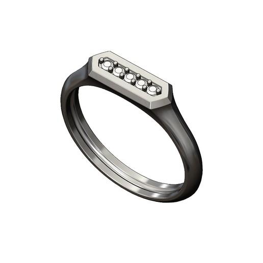 Hexa-signet-pavé-01.JPG Download 3MF file Hexagonal slot low profile signet ring 3D print model • 3D printable model, RachidSW