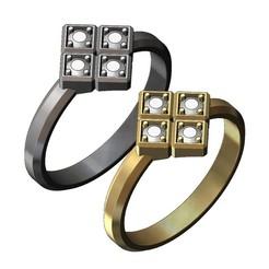 CUBE-RING-V0-00.JPG Télécharger fichier 3MF Modèle simpliste d'impression 3D d'une bague à 4 cubes de diamant • Plan pour impression 3D, RachidSW