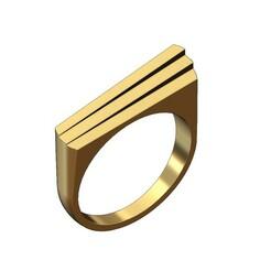 Stepped-prisms-signet-00.JPG Download 3MF file Stepped bars statement signet ring 3D print model • 3D printer model, RachidSW