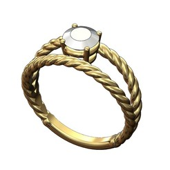 Double-row-rope-ring-6mmstone-00.JPG Download 3MF file Double row twisted wire ring with 6mm round diamond 3D print model • 3D printing design, RachidSW