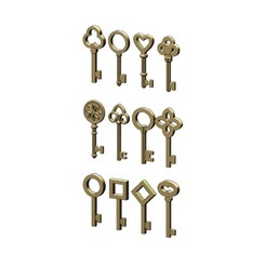 KEYS-0.JPG Download STL file Mix of 12 Key pendants and charms 3D print model • 3D print template, RachidSW