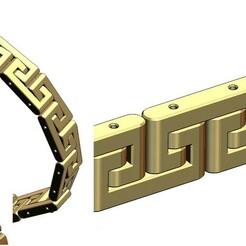 Greek-key-wristband-bracelet-00.jpg Download 3MF file Greek key pattern wristband bracelet and chain 3D print model • 3D printing template, RachidSW