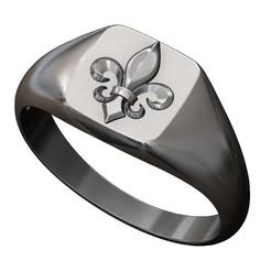 lys-square-signet-ring-00.JPG Télécharger fichier 3MF Bague carrée à fleur de Lys modèle d'impression 3D • Design imprimable en 3D, RachidSW