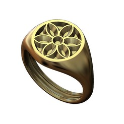 ROUND-S-Gothic2-00.JPG Download 3MF file Round signet ring with gothic ornament N02 • 3D print model, RachidSW