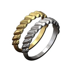 ROUND-SHANK-WAVE-CROISSANT-BRAID-RING-00.JPG Download 3MF file Twisted wave pattern band 3D print model • 3D printable model, RachidSW