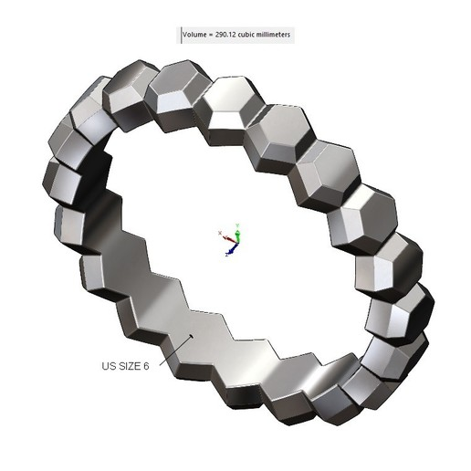 VOLUME2.jpg Download 3MF file Hexagonal Faceted norrow band 3D print model • Model to 3D print, RachidSW