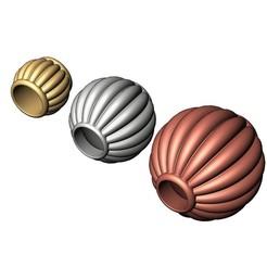 Lantern Beads-Corrugated Ball Beads-00.JPG Télécharger fichier 3MF Corrugated Lantern Bead Balls and Charms 3D print model • Design pour impression 3D, RachidSW
