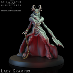 Screen Shot 2020-12-11 at 10.39.41 PM.png Download STL file Lady Krampus - PRE SUPPORTED • 3D printing design, BellaNachtMiniatures